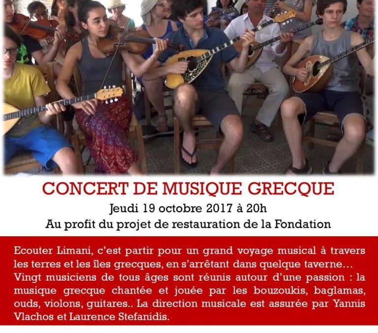 Concert de musique grecque avec l'ensemble Limani, jeudi 19 octobre 2017 à 20h00