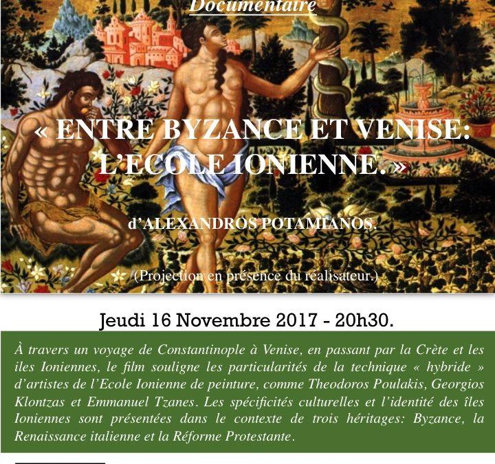 Projection du documentaire «Entre Byzance et Venise. L'école Ionienne» en présence de l'auteur, Alexandros POTAMIANOS, jeudi 16 novembre à 20h30