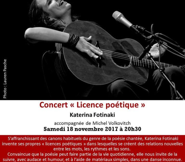 Concert de Katerina FOTINAKI accompagnée de Michel VOLKOVITCH. Samedi 18 novembre 2017 à 20h30