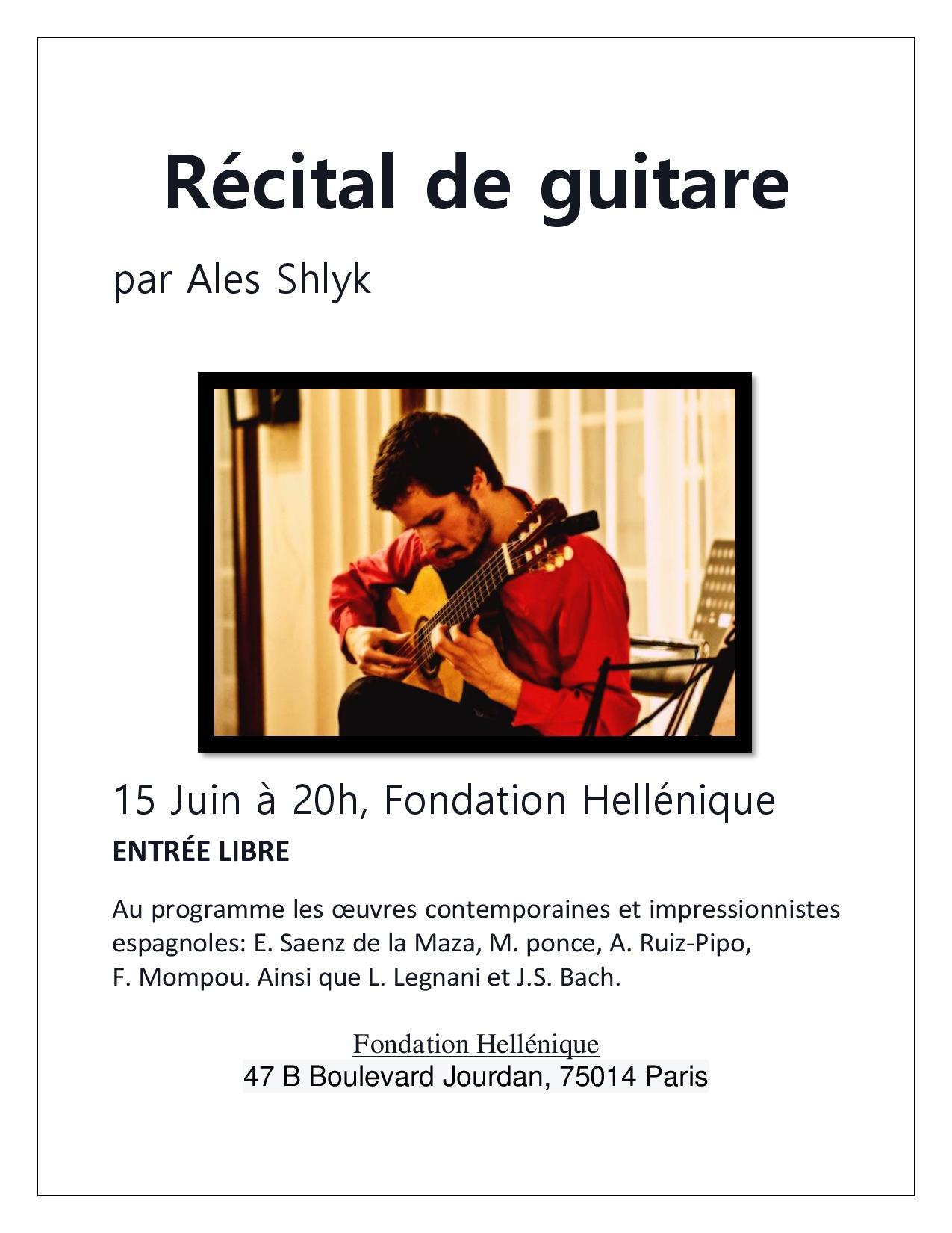 Récital de Guitare par Ales SHLYK.