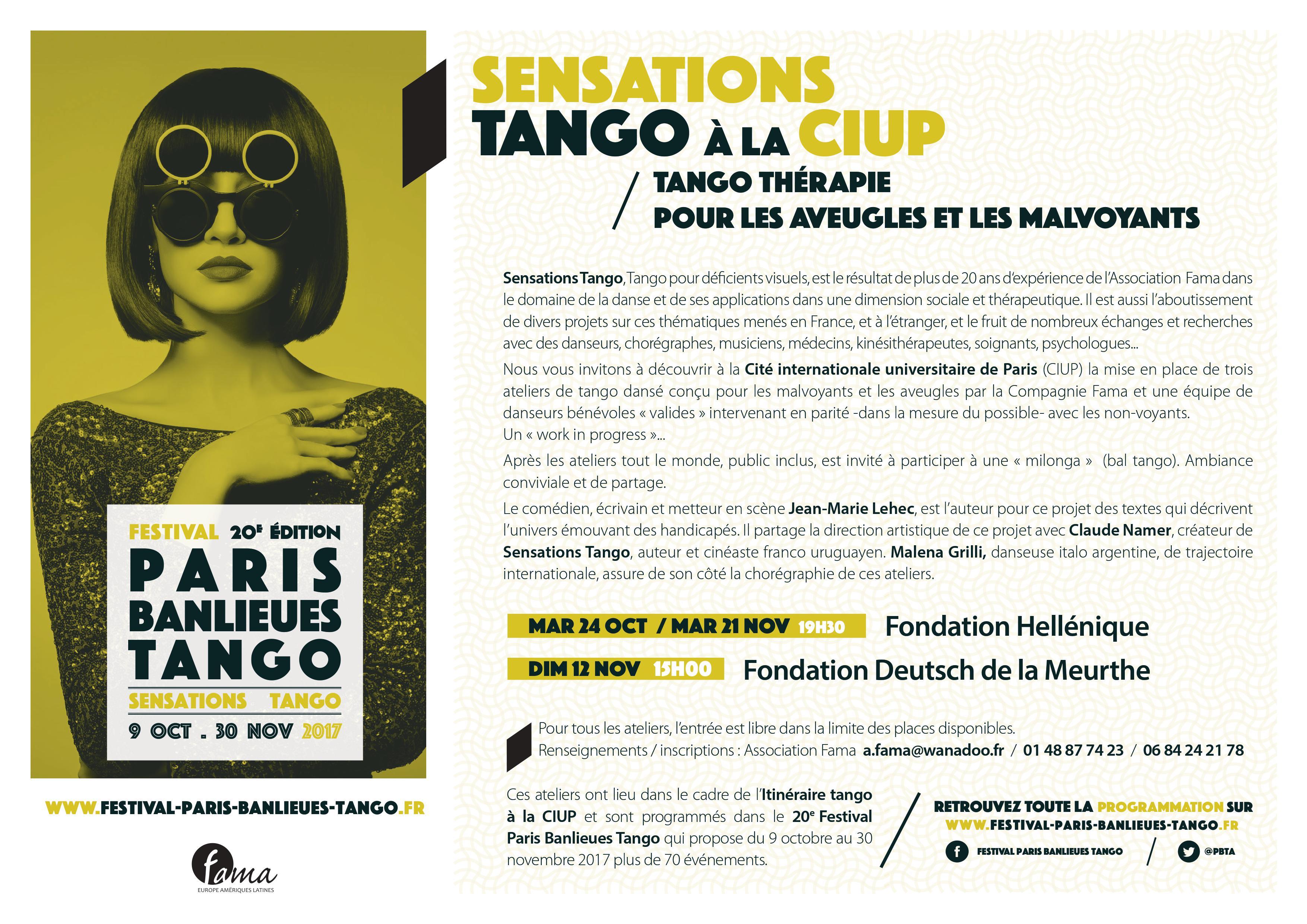 Sensations Tango: Tango thérapie pour les aveugles et les malvoyants. Mardi 24 octobre à 19h30 et mardi 21 novembre 2017 à 19h30 (ANNULÉ)