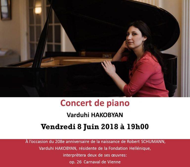 Concert de piano: Varduhi HAKOBYAN interprète des œuvres de Robert SCHUMANN. Vendredi 8 Juin 2018 à 19h00