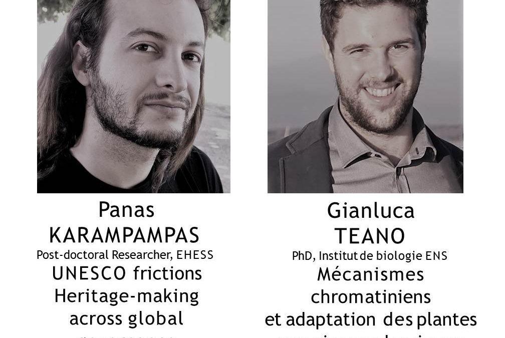 Cycle Parcours de recherche in a nutshell: Panas KARAMPAMPAS et Gianluca TEANO, Mardi 23 octobre à 21h