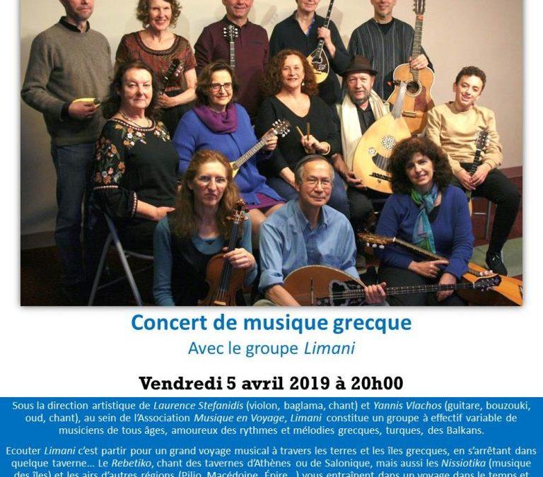 Concert de musique grecque avec le groupe Limani, Vendredi 05 Avril 2019, 20h00