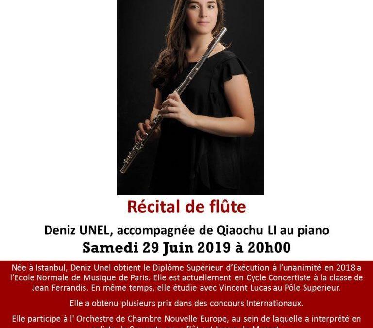 Récital de flûte: Deniz UNEL, accompagnée de Qiaochu LI au piano. Samedi 29 Juin 2019 à 20h00